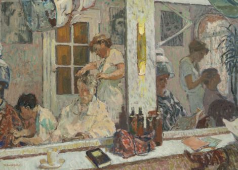 Theo Kurpershoek - Zelfportret in de spiegel van de kapsalon, olieverf op doek 80,4 x 110,2 cm, gesigneerd linksonder en gedateerd '83