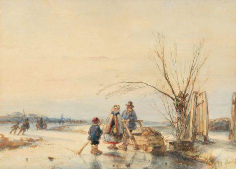 Andreas Schelfhout - Praatje op het ijs, pen, inkt en aquarel op papier 13,3 x 18,3 cm, gesigneerd rechtsonder