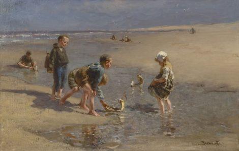 Bernard Blommers - Scheepje zeilen, olieverf op doek 67,0 x 103,3 cm, gesigneerd rechtsonder en te dateren ca. 1875