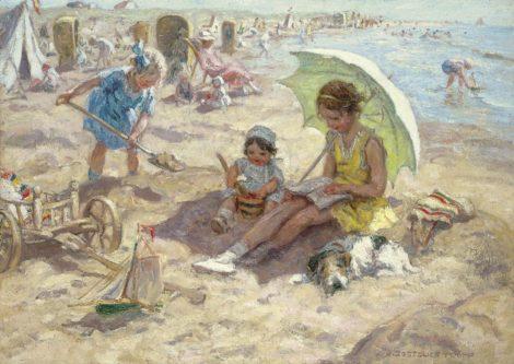 Jan Zoetelief Tromp - Spelende kinderen op het strand van Katwijk, olieverf op doek 68,3 x 95,9 cm, gesigneerd rechtsonder en verso