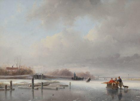 Andreas Schelfhout - Bevroren rivier met schaatsers en een koek-en-zopie, olieverf op paneel 29,5 x 40,0 cm, gesigneerd linksonder en te dateren ca. 1832-1834