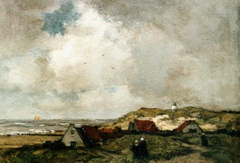 Théophile Emile Achille de Bock - Dorpje bij de zee, olieverf op paneel 40,2 x 52,8 cm , gesigneerd rechtsonder
