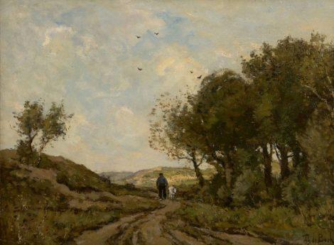 Théophile Emile Achille de Bock - Geitenhoeder op een duinpad, olieverf op doek 42,8 x 58,0 cm, gesigneerd rechtsonder