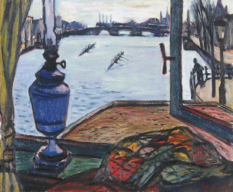 Theo Kurpershoek - Roeiers op de Amstel, Amsterdam, olieverf op doek 50,1 x 60,0 cm , gesigneerd rechtsonder en gedateerd '53