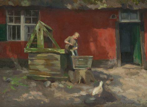Agnieta Cornelia Gijswijt - Boerenmeid bij de rode hoeve te Genk, olieverf op doek 28,3 x 38.6 cm cm , r.o.